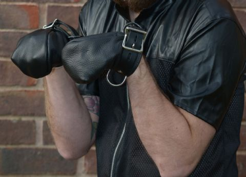 Puppy Play Pair of  leather Locking Paw Mitts
